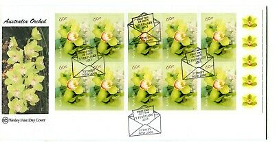2013 Greetings (10 x 60c Australian Orchids Stamp Booklet) Wesley FDC