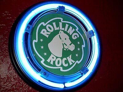***Rolling Rock Beer Bar Advertising Man Cave Blue Neon Wall Sign