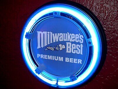 ***Milwaukee's Best Beer Bar Advertising Man Cave Blue Neon Wall Sign