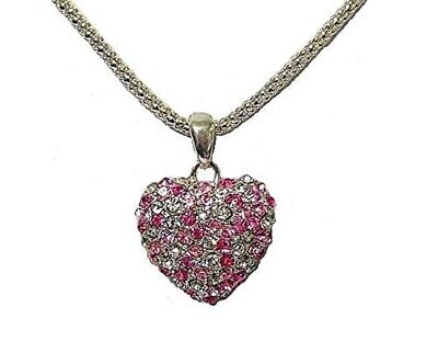 Pink Silver Love Heart Necklace Crystal Diamante Pendant Chain Women Girls Gift