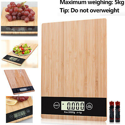 Bamboo food scale Digital LCD Electronic Kitchen Cooking Food Weighing Scales