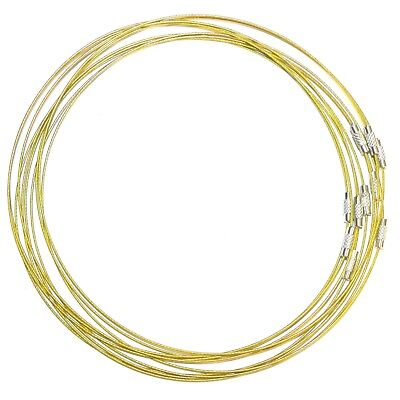 NW135 Gold Vinyl Coated Stainless Steel Wire Collar For Pendant Necklace 17.5""