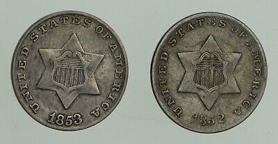 Lot (2) 1852 & 1853 Silver Three-Cent Pieces - Trimes *3183