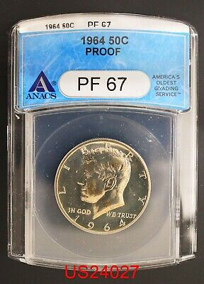 1964 KENNEDY Half Dollar PROOF ANACS PF-67 90% Silver FREE SHIPPING IN U. S.