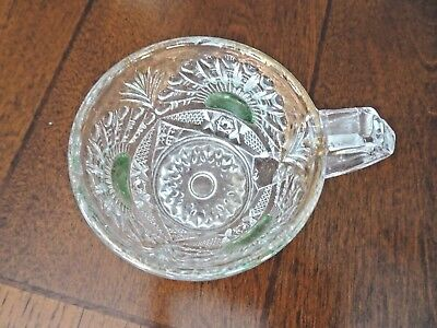 c1908 US Glass Co. EAPG RISING SUN GREEN Flash Pressed PUNCH BOWL CUP