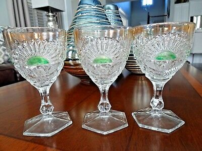 Set (3) c1908 US Glass EAPG RISING SUN Goblets Green Flash w/ Gold