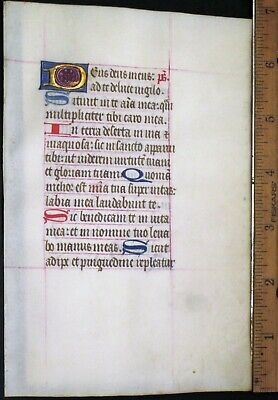 Medieval Illuminated Manuscript Lf,Vellum,BoH.Initial in Gold,Psalm 62/3,c.1460