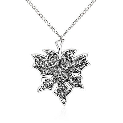 Large Antique Silver Abstract Metal Maple Leaf Pendant Long Curb Chain Necklace