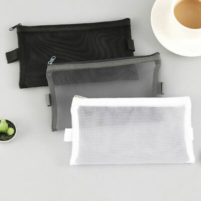 Clear Mesh Portable Large Pen Pencil Case Makeup Cosmetic Storage Bag Pouch Case