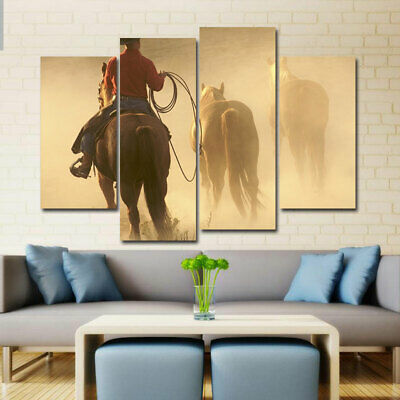 Cowboy with Horses Canvas Painting Wall Art Picture HD Print Home Decor