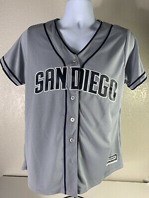 size 40 4c2e3 32a7e MAJESTIC SAN DIEGO Padres womens baseball jersey size Xlarge gray navy