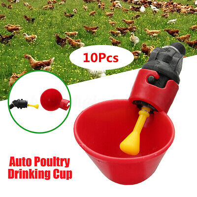 10X Automatic Cups Water Feeder Drinker Chicken Waterer Poultry Chook Bird Farm