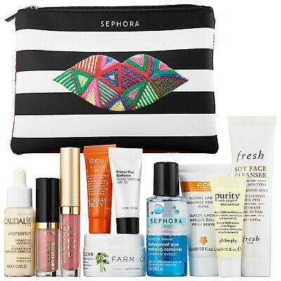 $80+ Sephora Master Off-Duty Beauty Sample Bag 10 Large Samples Makeup New