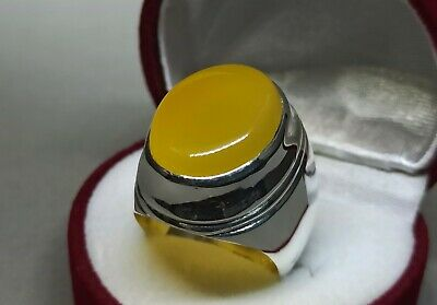 Men Yellow Yemeni Agate Sterling Silver 925 Zard Aqeeq Ring Handmade Akik Ring