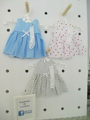 Dress & HB suitable for Baby Born, 3 Sets Blue Strawber White SPECIAL FREE POST