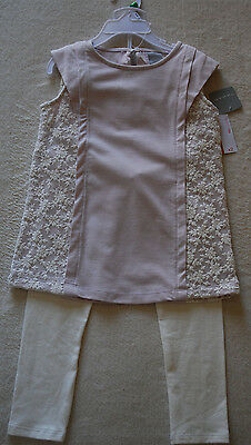 Tahari  Amazing Girls Set Pale Pink Lace Panel Tunic & White Leggins 4 Yrs Bnwt