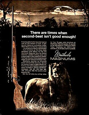 1970 WEATHERBY Magnum Rifle Vintage AD Lion Hunting