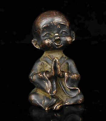 Collect Old China Red Copper Carving Buddhist Monk Statue Decoration