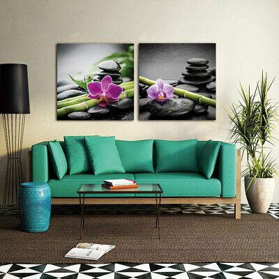 Zen Stone Bamboo Flower Canvas Painting Wall Art Picture Prints Home Decor