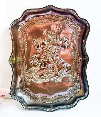 Antique Weighty Copper Arts & Crafts Style Large Tray - St. George & The Dragon
