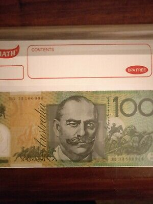 100000 Semi Solid $ 100 Note Fancy Unique Serial Number 100000