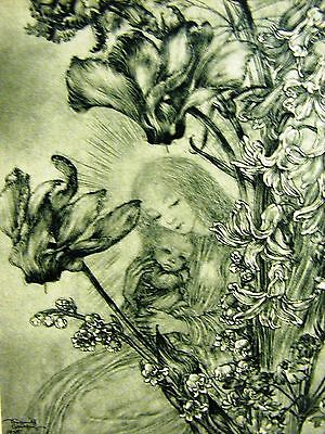 Sulamith Wulfing 1946 YOUNG GIRL w INFANT BABY in FLOWER GARDEN Art Print Matted