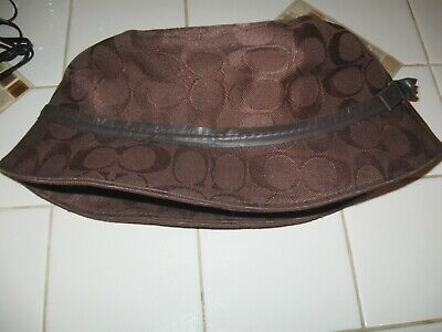 fcd3119b6cb27 EUC COACH SIGNATURE Brown Bucket Rain Hat S M -  16.99