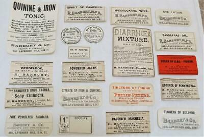 Pharmacist Chemist Drug Store 20 Antique Victorian Labels (f)