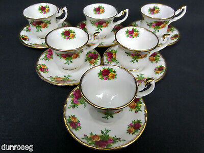 6 OLD COUNTRY ROSES MINIATURE TEA CUPS & SAUCERS, 1st QUALITY, VGC, ROYAL ALBERT