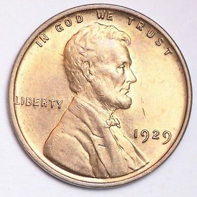 1929 Lincoln Wheat Small Cent CHOICE BU RED FREE SHIPPING E213 KCT