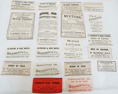 Pharmacist Chemist Drug Store 20 Antique Victorian Labels (h)