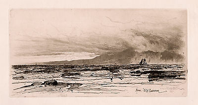 """David Young Cameron ORIGINAL Etching """"View of Isle of Arran"""" SIGNED Framed COA"""