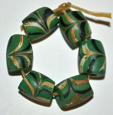Antique Venetian Green Italian Combed Feather Lampwork Glass Beads African Trade