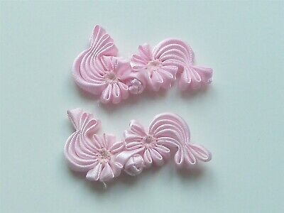 2 Beautiful Silk Flower Frog Fasteners - Pink
