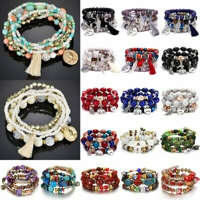 Fashion Boho Multilayer Natural Stone Crystal Beaded Bracelet Women Bangle Gift