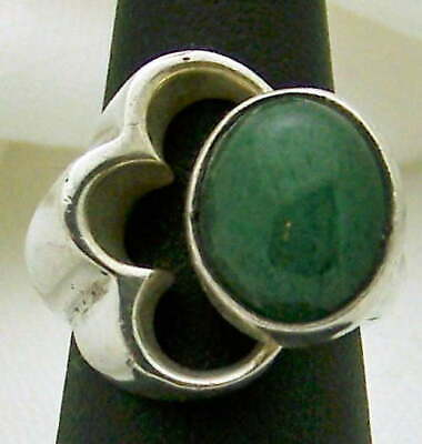 Striking Taxco Estate Heavy Jade Sterling Silver Flower Ring, Size 5.25