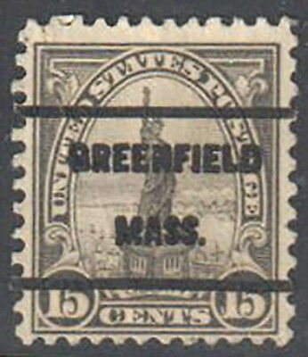 "SC#566 - 15c Statue of Liberty Used ""Greenfield Mass."" Cancel"