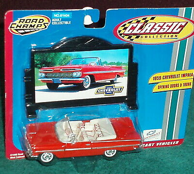 ROAD CHAMPS 1959 CHEVY IMPALA CONVERTIBLE w BILLBOARD 1/43 O Scale RED/WHITE