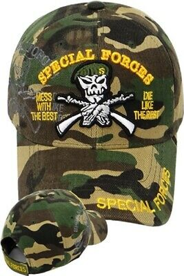 e361f42d10bcf US Army SPECIAL FORCES Ball Cap Ranger Airborne Beret Shadow Hat Woodland  Camo