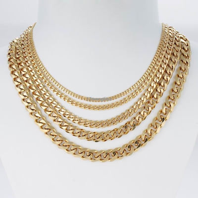 Gold Chain Necklaces Men's 3/5/7/9/11mm Stainless Steel Curb Link Bracelet