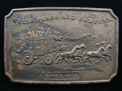 RE03129 VINTAGE 1970s *WELLS FARGO AND COMPANY SINCE 1852* BRASSTONE BELT BUCKLE