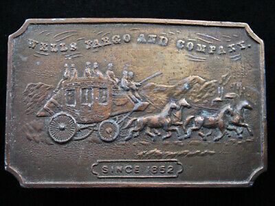RH15109 VINTAGE 1970s **WELLS FARGO AND COMPANY SINCE 1852** BELT BUCKLE