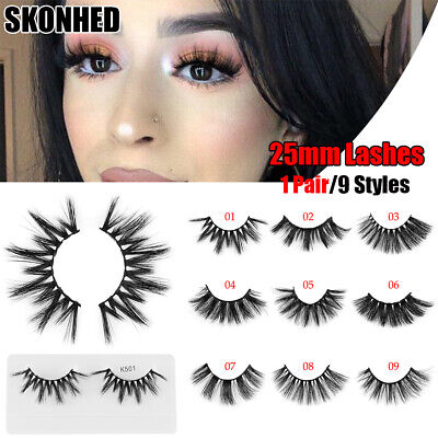 Thick Long 3D Soft Mink Hair Eye Lash Extension False Eyelashes 25mm Lashes