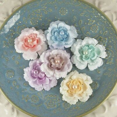 """NEW Prima """"Angelous - Baglis"""" 542689 Fabric Flowers with Tiny Pearl Centers"""