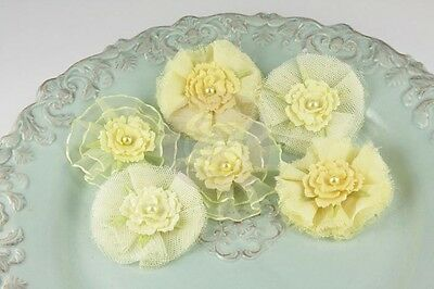 """NEW Prima """"Bronte Blooms - Lemonade"""" 542894 Fabric Flowers with Tiny Pearls"""