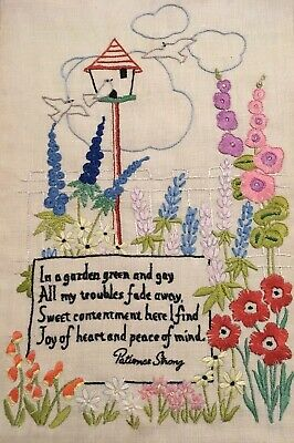 VINTAGE HAND EMBROIDERED PICTURE FLOWER GARDEN patience Strong Poem Beautiful