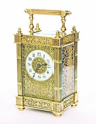 Pristine Antique French Filigree Gilt Carriage Clock & Fitted Case Just Serviced