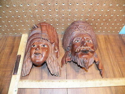 Vintage Pair Of Carved Wooden Face Wall Decoration, Woman & Man w Glass Eyes