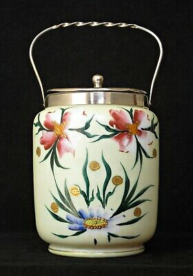 Antique French Opaline Glass Biscuit Barrel, Enamelled Flowers, Gilt, Chrome Top