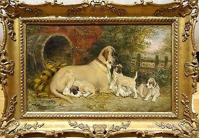 Fine 19th Century Great Dane Dog Mother & Puppies Kennel Edwin Frederick HOLT